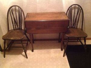 Unique Antique Swivel Top Folding Table with pair of Chairs