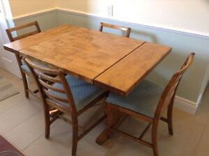 Butcher Block table - drop leaf with 4 chairs