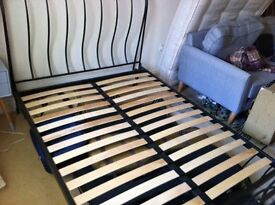 Double Bed John Lewis curved metal and wooden slats