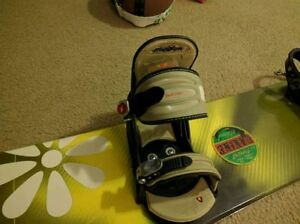 Snowboard with Burton bindings