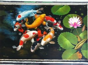 Clearance-original Koi Fish painting on canvas