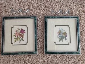2 LOVELY FRAMED FLOWER PICTURE FRAMES + DECORATIVE ACCENTS