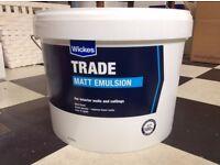 Unopened 10 Litre tin of high quality Wickes White Matt Emulsion Paint