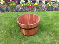 Small Size Acacia Hardwood Garden Barrel Planter With Decorative Bands & Handles - Only £14.95