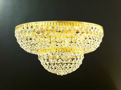 9 Flush-mount (Schonbek Flush Mount Schonbek 9 Light Crystal Gold Lighting Fixture Ceiling NEW)