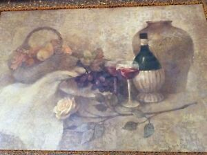 Wine and Fruits Vintage Painting