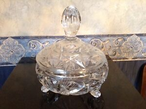 Pinwheel crystal candy dish with lid