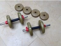 Set of 8 YORK Fitness Barbells in good condition. 2 Bars, Spin Locks and Padded Grip.