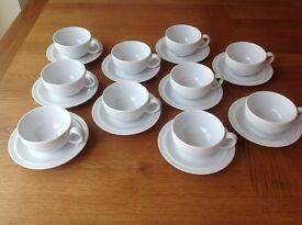 10 x Denby White Cups and Saucers - never been used