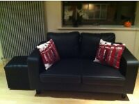 Black Faux Leather 2 Seater Sofa and Stool