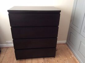 IKEA CHEST OF 4 MALM DRAWERS, BLACKBROWN - PERFECT CONDITION