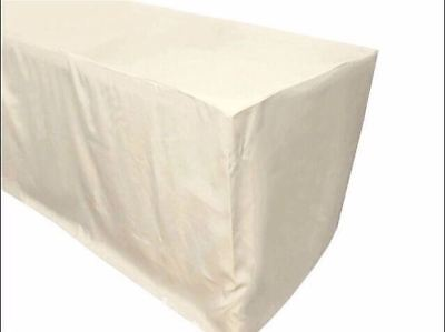 8 Ft. Fitted Polyester Table Cover Wedding Trade Show Booth Dj Tablecloth Ivory