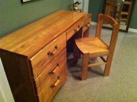 Solid bedroom desk/dresser/night table set