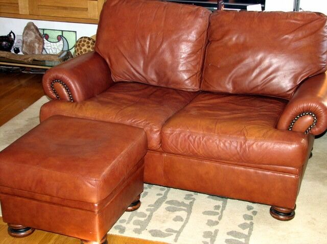 John Lewis Tetrad Cordoba 2 Seater Leather Sofa Footstool