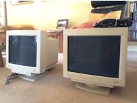 "Two computer monitors CRT20"" and 21"""