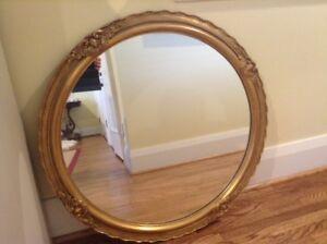 Gold Framed Round Mirror 32 inch Diameter