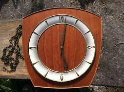 Junghans Mid Century TEAK Eames Era Vintage Wall Clock Rare CHIMES PENDULUM 248