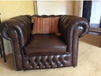 Antique brown leather Chesterfield 3 piece suite.