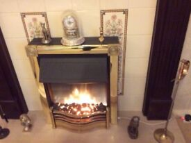 Brass and Black coal effect electric convector fire