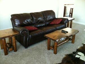 Pine and Cedar log Rustic end table