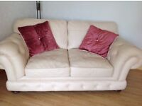 Cream leather three piece suite 1 2 seater settee & 2 chairs Mint condition.