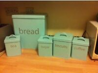 Blue Bread Bin Set (Sugar,Tea,Coffee.Biscuits)