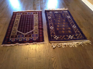 Two piece Persian hand made area rugs 100% wool  5` x 3`