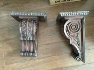 Two lovely large sconces corbels architectural molding