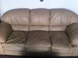 Genuine Leather Sofa and Loveseat - Tan/Beige Neutral