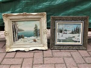 Collection of 7 vintage oil paintings