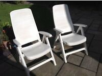 Adjustable Resin Recliner Garden Chair, White Sun Lounger Seat including cushions