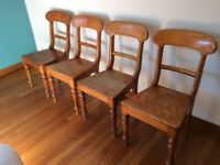 Set of 4 vintage cottage beech dining chairs