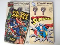 LAST TWO - Superman & Captain America packaged earphones - £20 for the 2!