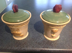 Pair of Pillar Candle Porcelain Vases with lids