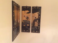 Classic Oriential Lacquer Wall Panels (set of 4)