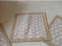 Hessian and lace wedding table centrepiece squares instead of runners