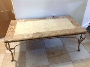 Thomasville Iron and Fossil Stone Table
