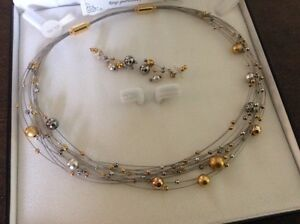 Silver and Gold Necklace and Pierced Earrings