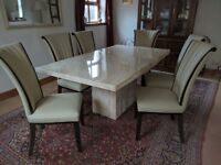 Marble effect table with 6 leather chairs