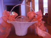 Peach Flower Girl Basket