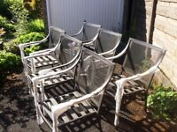 Garden Furniture Stacking Chair Metal Patio Set Of 6 New