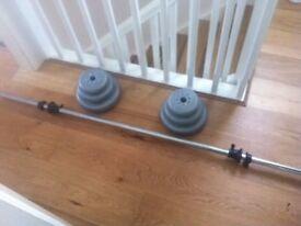 york plastic barbell and pole 10lbs 5lbs 2.5 lbs