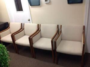 4 WHITE CLOTH WOOD FRAME RECEPTION CHAIRS