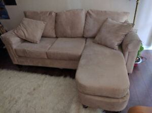 Tan/beige suede finish couch