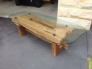 natural tree base with glass top coffee table Newport Pittwater Area Preview