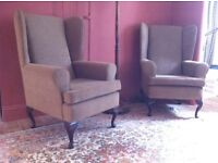 Pair of Wingback Queen Anne Armchairs