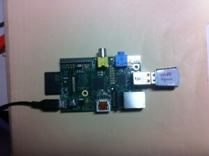 Raspberry Pi, original model, with WiFi adapter