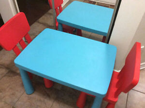 ikea Mammutt table with 3 chairs