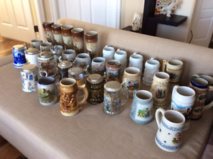 33 German Beer Stones in top cond.. Many Hunter mugs included.