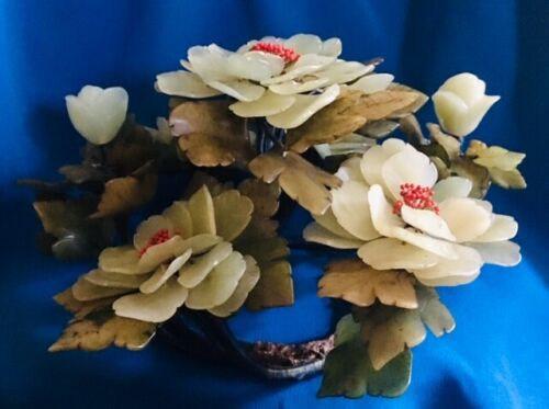 Vintage Carved Chinese Multicolored Jade Hardstone Peony Floral Centerpiece 12''